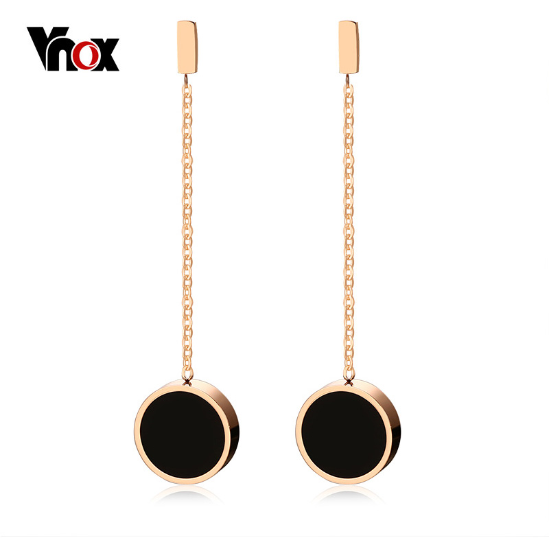 Vnox 45mm Long Earrings for Women Jewelry Trendy Rose Gold-color Stainless Steel Femme Dangle Earrings Brincos Femininos yoursfs dangle earrings with long chain austria crystal jewelry gift 18k rose gold plated