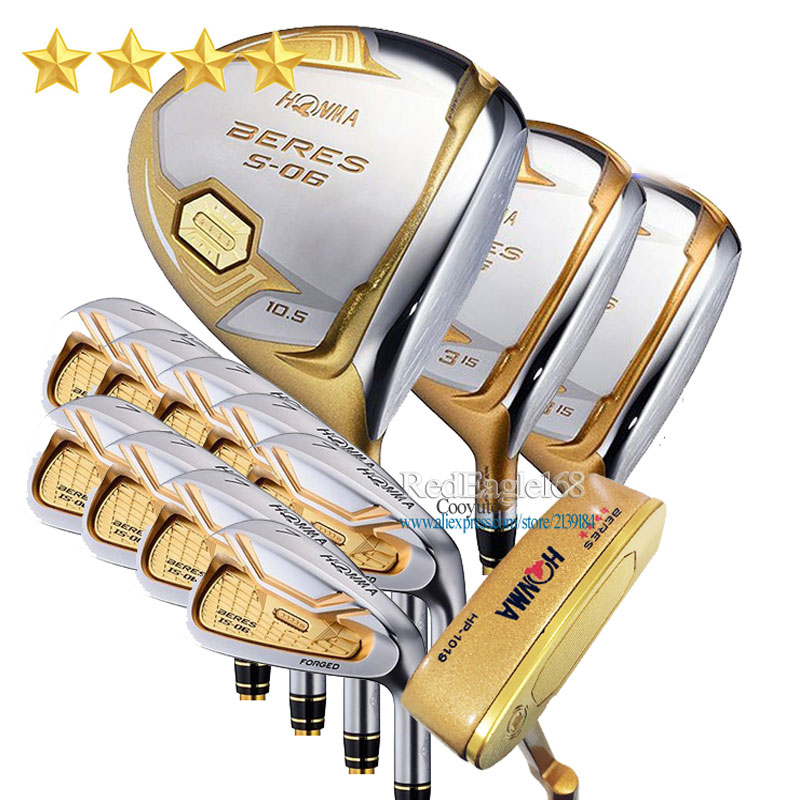 New Compelete Club Set HONMA S-06 4 Star Golf Clubs Driver Fairway Wood Irons No Bag Putter Graphite Golf Shaft Free Shipping