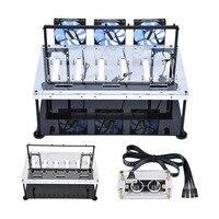 Marco de Caja de la Computadora de doble Capa al Aire libre para la Minería BTC 8 Tarjeta Gráfica GPU con Anti-estática Interruptor Ordenador Ventilador de Refrigeración casos
