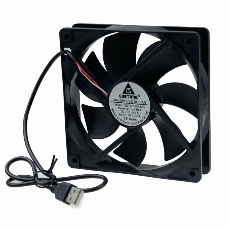 Computer Case Fan DC 5V Black Silent Cooling 120x120x25mm  POWERED BY USB CORD