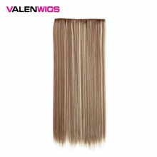 "Valen Wigs Clip Extension One Piece Straight Synthetic Hair False Hair Heat Resistant 5clips/piece Long Hair 22"" Full Head 120g"