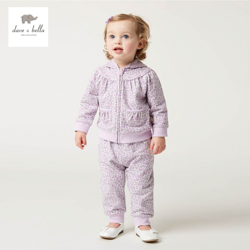 DB4799 dave bella spring fall baby girls lilac leopard clothing set sports set boutique clothes