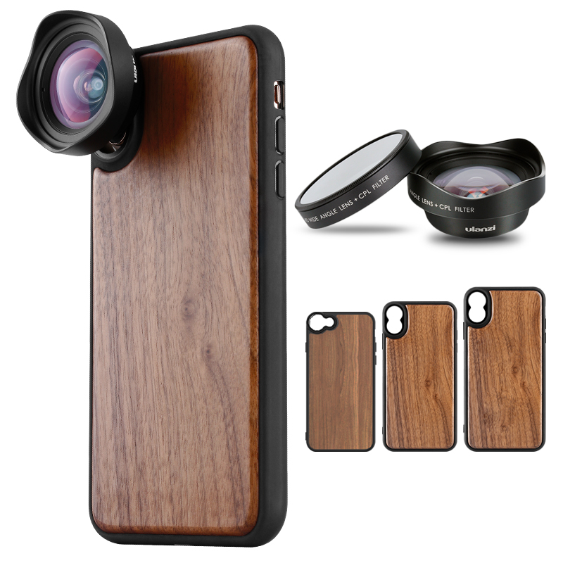 ULANZI Wide-angle Smartphone Lens w Wooden Phone Case Cover Shell for iPhone 7 8 iPhone X XS Max Huawei P20 Pro plywood