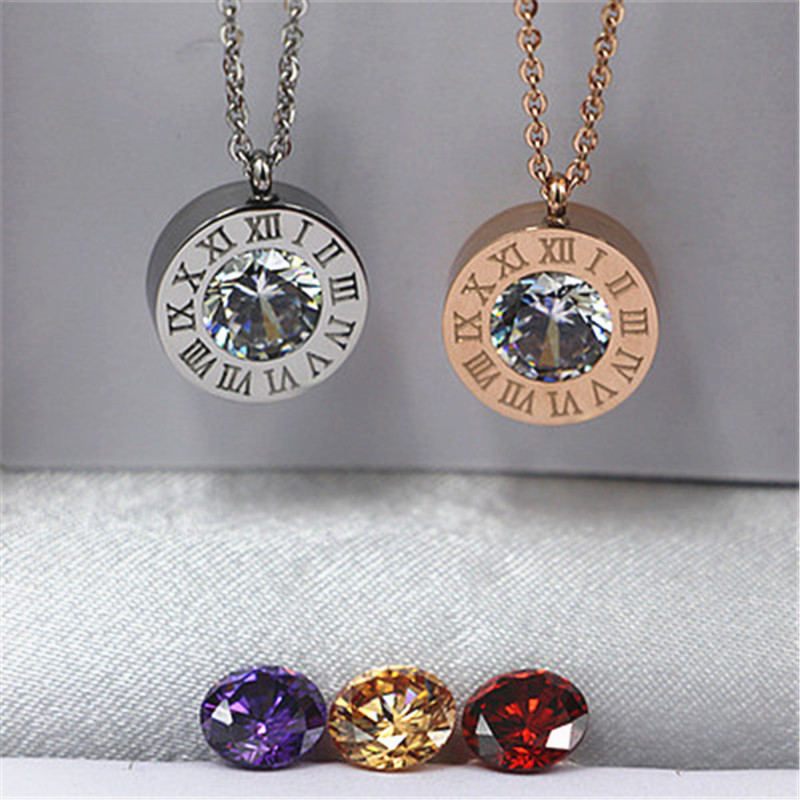 Stainless Steel 4 Color Crystals Stone Interchangeable Roman Numerals Pendant Necklace For Women Jewelry Couple Necklaces K0036