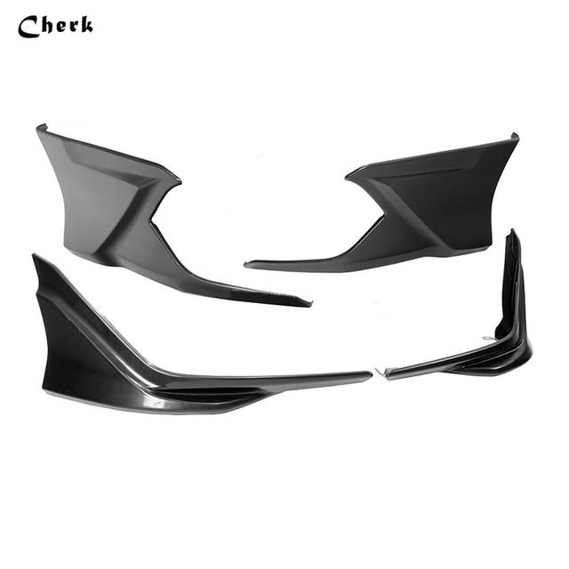 Front Rear Lip Spoiler Under Body Air Dam Splitter Bumper Protector Black Sliver Red  4pcs For Honda Civic 2016 2017