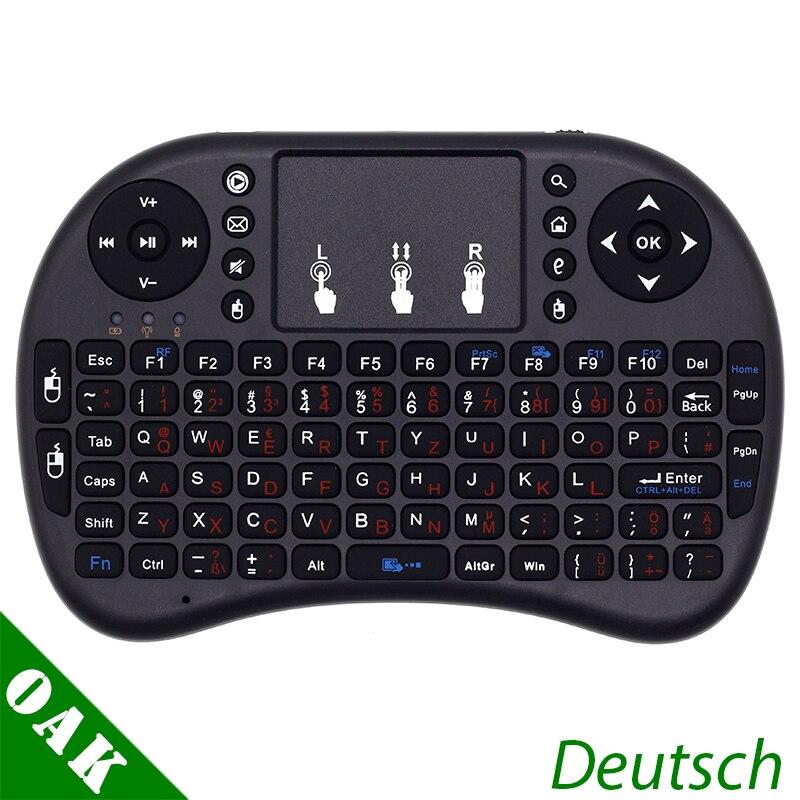 Versão Alemã Deutsch Teclado i8 i8 + 2.4 ghz Mini Teclado Sem Fio Air Mouse com TouchPad para Android TV Box /Mini PC