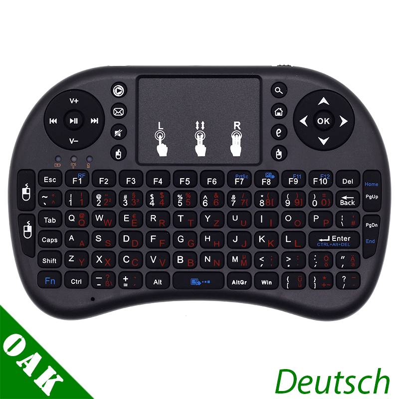 i8 German Version Keyboard Deutsch i8+ 2.4GHz Mini Wireless Keyboard Air Mouse with TouchPad for Android TV Box / Mini PC 2 4g mini wireless keyboard mouse with touchpad for pc android tv htpc