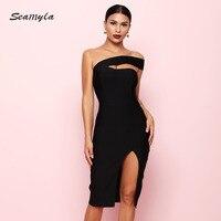 Seamyla 2019 Bandage Dress Sexy White Black Red One Shoulder Bodycon Summer Dress For Women New Celebrity Party Dresses Vestidos