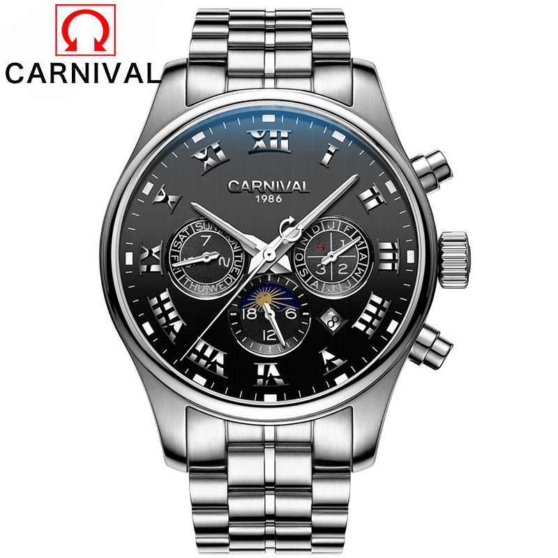 Carnival Mens Automatic Mechanical Watches Moon Phase Full Steel Watch Men 30M Waterproof Multifunction Clock horloges mannen