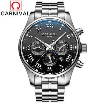 Karneval Herren Automatische Mechanische Uhren Mond Phase Voller Stahl Uhr Männer 30 M Wasserdichte Multifunktions Uhr horloges mannen