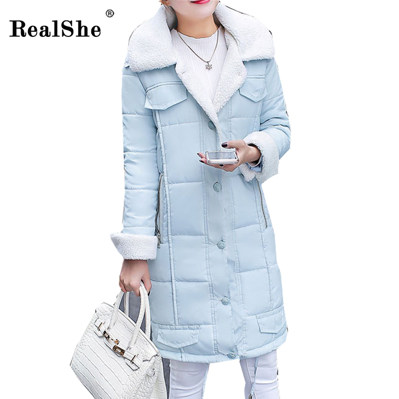 RealShe New Winter Women Coat Jacket Thickening Single Breasted High Quality Woman Cotton Jacket Korean Long Lambswool Outwear