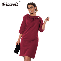 EISWELT 3XL 6XL Large Size 2018 Summer Dress Elegance Dress Work Office Dress Straight Dress Plus