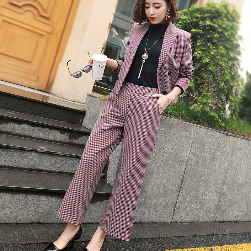 Plaid Short Suit Wide Leg Pants Fashion Two-piece Female 2019 Autumn New Classic Women's Suit Temperament Elegant Clothes