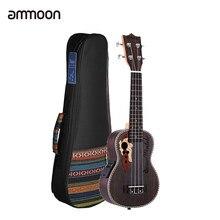 Ammoon – Ukulele acoustique en épicéa, 21 pouces, avec sac, 15 frettes, 4 cordes, Instrument de musique avec micro EQ intégré