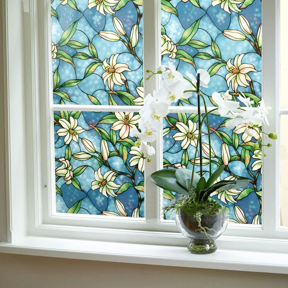 Fenêtre de La vie privée Film Décoratif Vitrail Film Teinté Verre Film Sticker Home Decor 92 cm x 200 cm (36