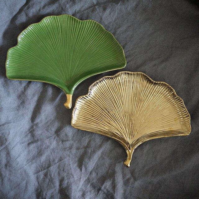 1 piece european style ceramic ginkgo leaf tray home furnishings