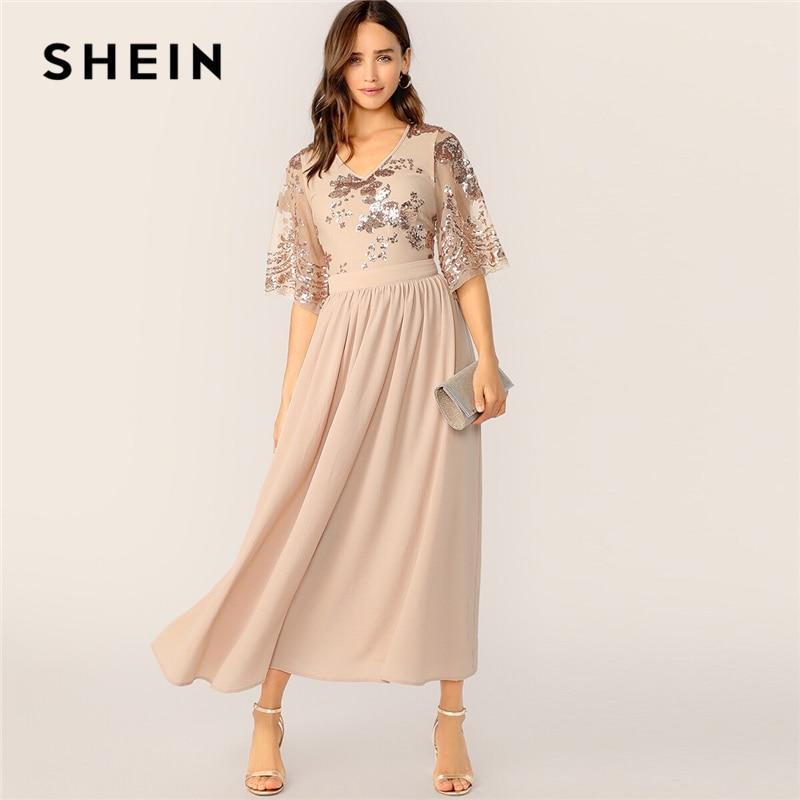 SHEIN V-Neck Contrast Sequin Mesh Sleeve Flare Dress 2019 Glamorous Spring Summer Apricot A Line High Waist Women Dresses
