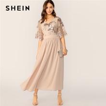 SHEIN V Neck Contrast Sequin Mesh Sleeve Flare Dress 2019 Glamorous Spring Summer Apricot A Line High Waist Women Dresses