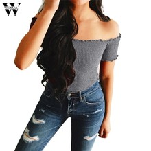 5822b360 Womail Womens Sexy Solid Strapless Off Shoulder Short Tops Blouse Cotton  Blended Casual summer shirt Gift