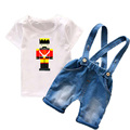2 PCs Children clothing sets 2017 New Summer Toddler boys clothes T-shirt+overalls Baby boy costume Character T6107