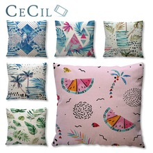 Africa Tropical Plant Printed Pillow Case Office Green Leaves Linen Pillow Cover Home Sofa Cushion Cover Pillowcase 55*55cm цена