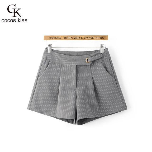 2016 Nova Frete Grátis Moda Feminina stripe Botão cinto de Algodão Shorts Para Mulheres Calças Curtas Mulher Casual Plus Size Shorts mulheres