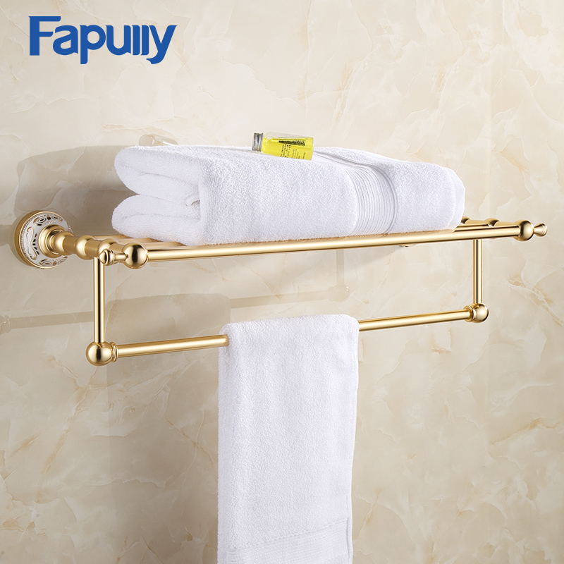 Fapully Bathroom Towel Rack Shelf with Bar Wall Mount Aluminum Bathroom Accessories Gold Double Towel Rack