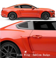 ABS Unpainted Car Side Wing Fender Door Emblem Badge Sticker Trim Car Styling 2Pcs For Ford Mustang 2015 2016 2017 2018 2019