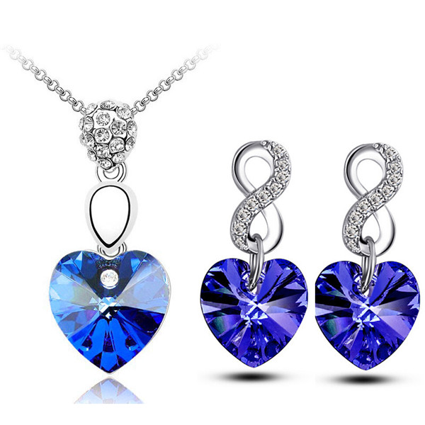 Καρδιά Κολιέ σκουλαρίκια Μενταγιόν μόδας κοσμήματα σύνολα ελεύθερη ναυτιλία πτώση αυστριακή ποιότητα των γυναικών κρύσταλλο Αξεσουάρ Lover δώρα