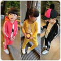 New Autumn Casual Striped Hooded Track Suit Kids 2pcs Girl Clothing Sets Black Girls Sport Suit Hooded+Pant Girls Winter Clothes