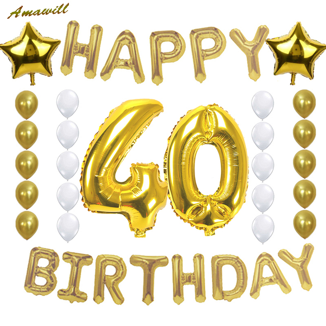 Amawill Adult 40 Years Old Celebration Party Supplies 40th Happy Birthday Decoration With Gold Foil Balloons Latex Ballon 75D