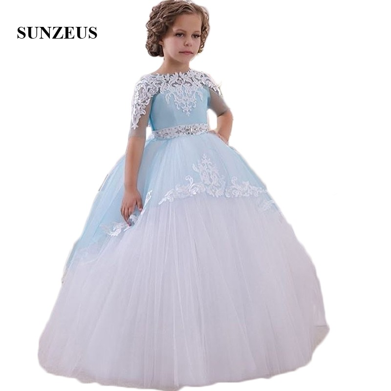 Blue and White Ball Gown   Flower     Girls     Dresses   Appliques Half Sleeve Tulle   Dress   for Pageant Party Beaded First Communion SF31