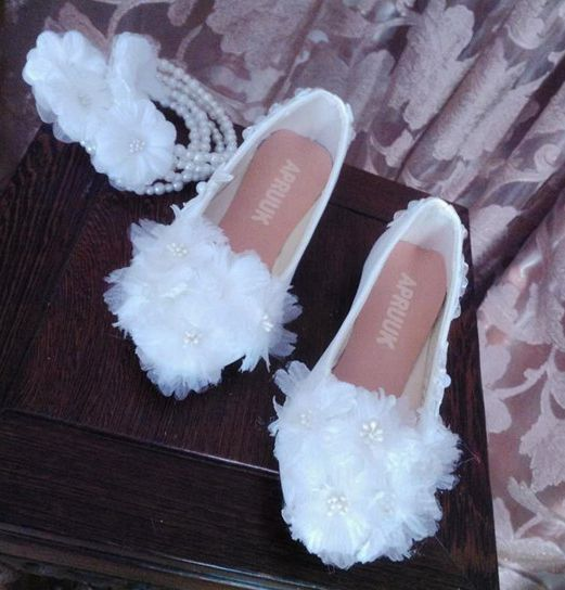 Kristall Königin Weiße Spitze Hochzeit Schuhe Flache Fersen Spitz ...