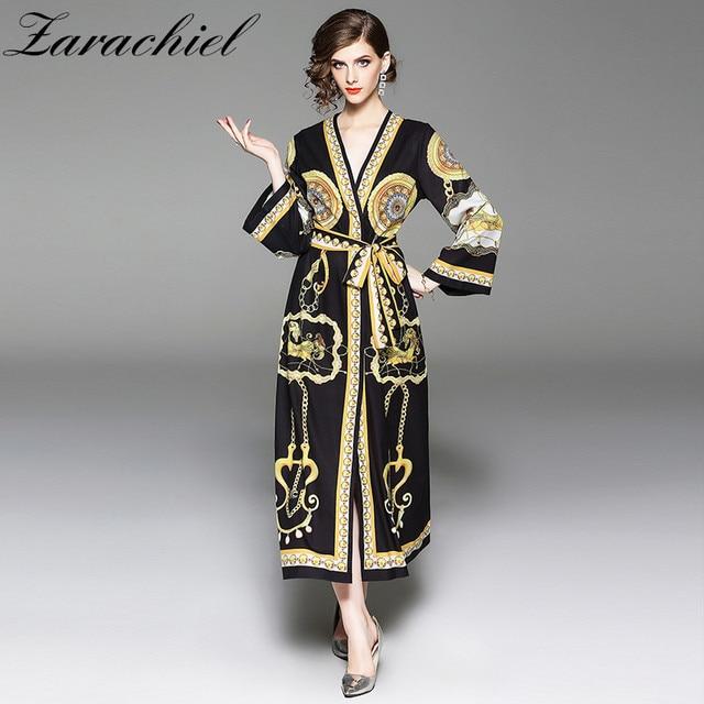 8803b04a06c47 Women Elegant Gold Print Maxi Dress Bow Tie Sashes Long Sleeve V Neck Loose  Kimono Female