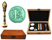 Vintage Luxury Letter F Alphabet Initial Engraved Wedding Invitation Wax Seal Sealing Stamp Brass Peacock Metal