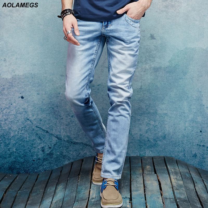 ФОТО Aolamegs Men Denim Jeans Pants Men' s Casual Slim Distressed Jeans Trousers Male Soft Yarn Micro Elastic Fashion Denim Trousers