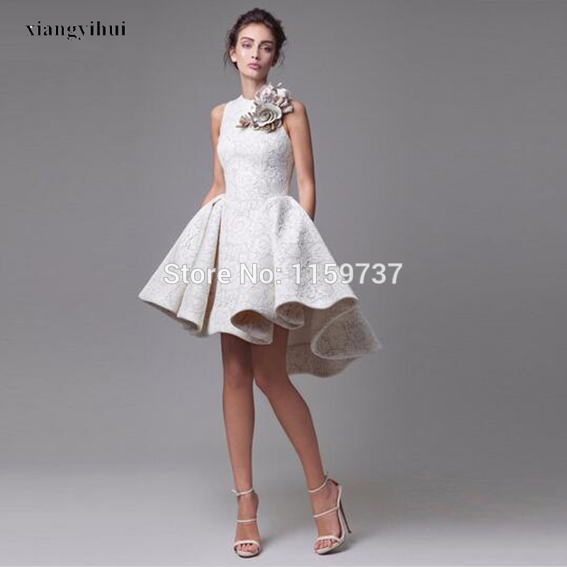 New Arrival Lace Asymmetrical Evening Dresses Short Length Handmade ...
