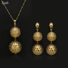 ZuoDi Dubai Jewelry Women's Jewelry Sets Necklace Earrings Pendant Gold Color Alloy Zircon Round Zircon For Party(China)