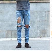 Hip Hop Fashion Pants Cool Mens Urban Clothing Jumpsuit Men S Zipper Broken Hole Rock Star