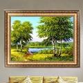 Home decor diy pintura do ponto da cruz needlework 5d diamante bordado floresta cena rio mosaico