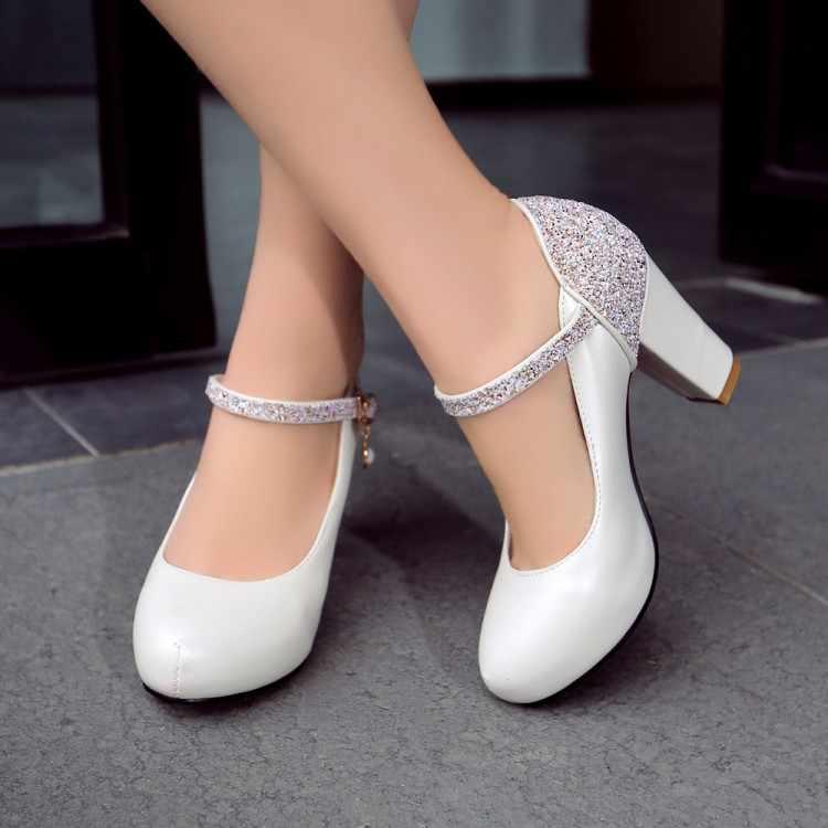 Grote Maat 11 12 13 platform hakken vrouwen schoenen vrouw pompen dames Ronde hoofd Pakket tenen Water boor Dikke met enkele schoenen