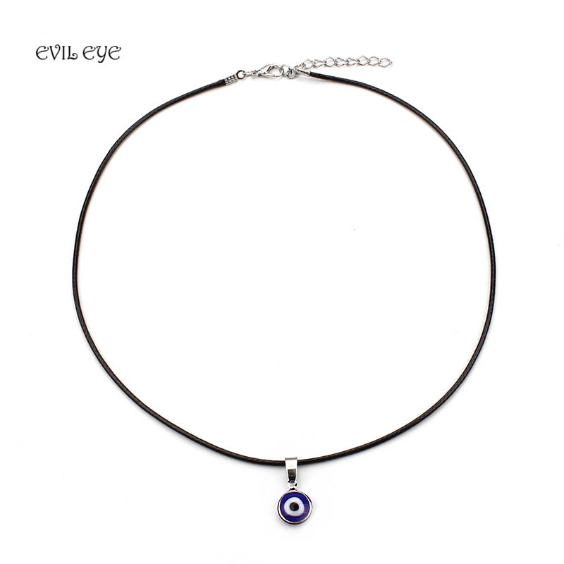 Turkish blue evil eye pendants necklaces for women alloy leather chain necklace women girls jewelry good luck gifts in chain necklaces from jewelry turkish blue evil eye pendants necklaces for women alloy leather chain necklace women girls jewelry good lu Choice Image