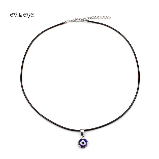 Turkish blue evil eye pendants necklaces for women alloy leather turkish blue evil eye pendants necklaces for women alloy leather chain necklace women girls jewelry good mozeypictures Images