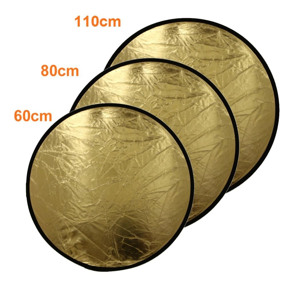 ALLOYSEED 1pcs 60cm/80cm/110cm 2-in-1 Photography Reflector Studio Light Mulit Collapsible Disc Round Disk Silver/Gold светоотражатель godox rft 01 gold silver 110cm