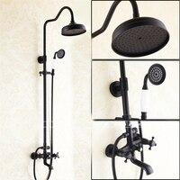 Bathroom Black Antique Brass Shower Column Shower Set Wall Mounted 8 Rainfall Shower Mixer Tap Faucet
