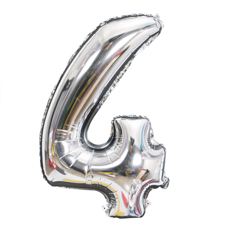 Золотой Серебряный 32 дюйма 0-9 большой гелиевый цифровой воздушный шар фольги Детский праздник день рождения вечеринка для детей мультфильм шляпа игрушки - Цвет: sliver 4