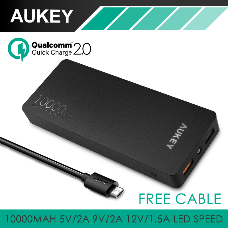 Aukey Quick Charge 2 0 10000mAh Portable External font b Battery b font Fast Charger 20W