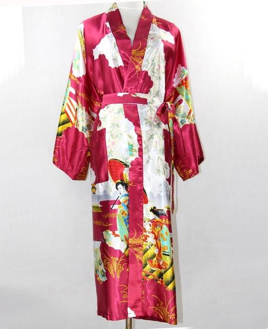 Hot New Burgundy Mujer Pijamas Chinese Women Silk Rayon Robe Sexy Night Gown  Sleepwear Kimono Plus f85a47f7c
