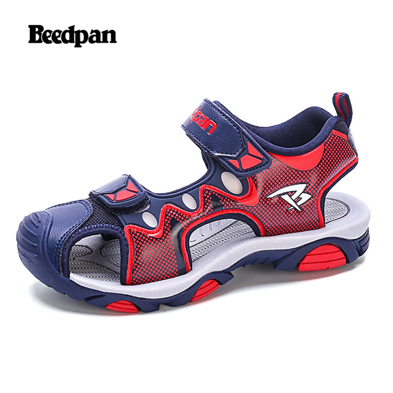 BEEDPAN Summer Boys Sandals For Kids Shoes Closed-Toe Ankle-Wrap Beach Children Sandals Sport Breathable Comfortable Fabric
