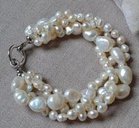 Real Pearl Bracelet White Freshwater Pearl Bracelet ,4 Row 8 Inch,6 10mm ,Bridesmaid Party Jewellery Gift,Flower Girl Pearl Gift